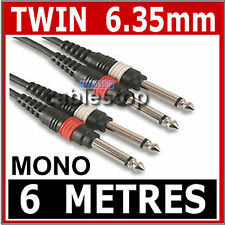 6M Twin MONO 1/4 Inch Jack to Jack 6.35 CABLE 6.35mm 2 x MONO PLUGS LEAD UK 1/4""