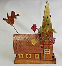 "Vintage Brass/Copper Metal Sculpture Church Wind-Up Music Box ""Amazing Grace"""