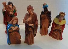 Vintage Plastic Nativity Figurines Figures Set of Five 5
