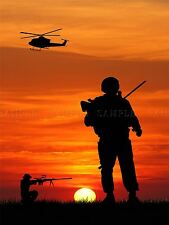 PHOTO COMPOSITION SILHOUETTE SOLDIER SUNSET POSTER PRINT BMP10213