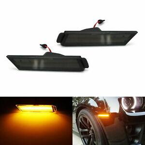 For 10-15 Chevy Camaro Black Lens Front Bumper Side Marker Reflector LED Lights
