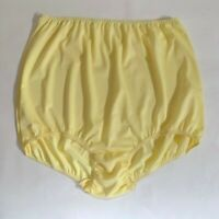 "Vintage Pretty Plus Size Yellow Nylon Panties w/4"" Nylon Gusset. Size 10"