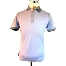 J-3001990 New Brioni Sky Blue Fantasy Collar Short Sleeve Shirt Size Small