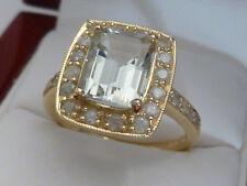 9ct Solid Yellow Gold 5.40 Carat LARGE Amethyst & Genuine SI/G DIAMOND Ring R21