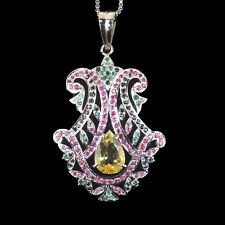 AAA Stunning Natural Citrine Emerald Ruby Sapphire Pendant 925 Sterling Silver