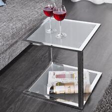 Beistelltisch QUAT Wartezimmertisch Couchtisch Glas Gestell Chrom 40x40cm Neu