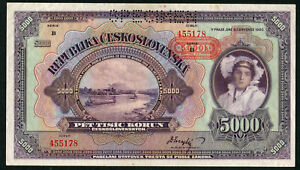 BOHEMIA MORAVIA 5000 KRONEN 1920, PICK: 16s SPECIMEN, aUNC