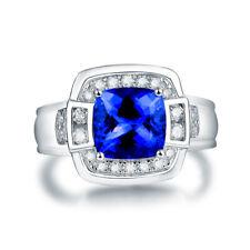 18K White Gold Brilliant Diamonds 2.5ct Tanzanite Gemstone Ring Men Jewelry