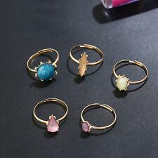 5 pcs Colorful Imitation Stone Candy Charm Imitation  Lady's Gold  Ring 1 Set