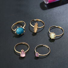 5 pcs ColorfulPop Imitation Stone Candy Charm Imitation  Lady's Gold  Ring 1Set