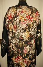 1910's / 20's Full Embroidered Back Black Silk Kimono Rich Color Roses A&C Floss
