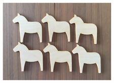 6 Dala Horse Unfinished Wood Laser Cut Christmas Ornaments Christmas Bells
