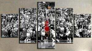 Set of 5 Framed Canvas Picture Prints - Michael Jordan - Last Shot - Size 2