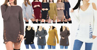 Womens Oversize Ripped Cold Shoulder Long Jumper Distressed Knitted Jumper Dress