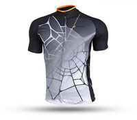 Men Cycling Jersey Clothing Bicycle Shirt Top Spider Bike Short Sleeve Wear Gray