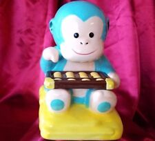 Wells Fargo 2016 Chinese year of the monkey ceramic coin bank light blue yellow
