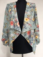 New Look Size 6 Duck Egg Blue Floral  Ruched Sleeve Waterfall Jacket Blazer