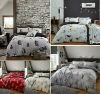 Designer MURRAY STAG TEDDY Fleece Duvet Cover+Pillow Case Cosy Warm Soft Bed Set