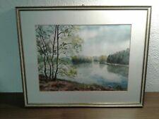 Handgemaltes Bild Ch. Heidenau 1990 Aquarell Szene Fluss mit Bäume 52x40cm
