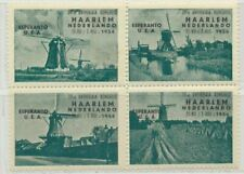 Netherlands Haarlem Esperanto Windmill Poster Stamps Cinderella Block of 4 (1)
