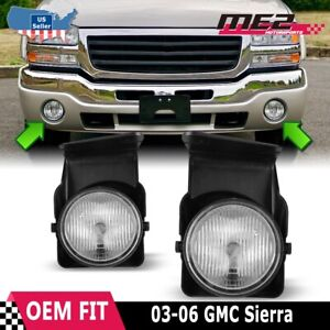 Fits 03-06 GMC Sierra Clear Lens PAIR Bumper Replacement Fog Light Lamps