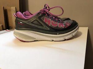 Hoka One One Bondi 4 Womens 7.5 Gray/Pink Running Athletic Comfort Shoes