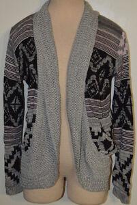 Women's Rue 21 Gray & Pink Geo Long Sleeve Open Front Cardigan Sweater XS, S, M