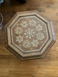 "Egyptian Moroccan  Side End Table wood Inlaid Mother of Pearl (15"") 17"" Tall"