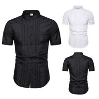 Men Pleated Shirt Tops Short Sleeve Costume Gothic Steampunk Retro Casual Blouse