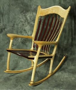 Curly Maple and Purpleheart Sculpted Rocking Chair