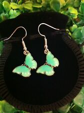 Rose Gold Plated Aqua Butterfly Earrings Spirit Animal With Gift Bag