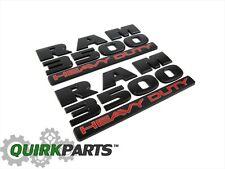 15-17 DODGE RAM 3500 HEAVY DUTY FLAT BLACK EMBLEM NAMEPLATE BADGE SET OF 2 MOPAR