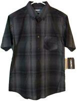 Tony Hawk Mens Button Front Shirt Gray Plaid Short Sleeve Pocket S New