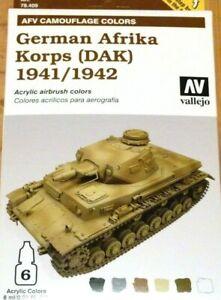 AV Vallejo Allemand Afrika Korps ( Dak ) 1941/1942 Acrylique Couleur Set Pour