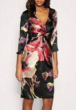 COAST JEANNIE BLACK PURPLE RED FLORAL SILK RUCHED DRESS 12 WORN TWICE HANDWASH