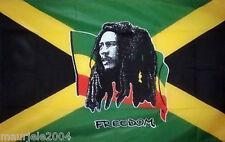 Bandiera Bob Marley Freedom NUOVA, 140 x 90 cm. Rasta Reggae Flag Freedom NEW