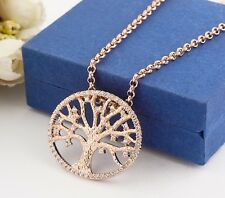 18K Rose Gold Filled Tree of Life Inlay Crystal Charm Pendant Necklace Vintage