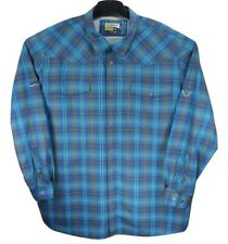 New Magellan MagCool Semi-Fitted Mens 3Xl Blue Green Ls Vented Button Down Shirt
