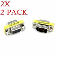 2x 15 Pin VGA SVGA Adaptor Connector M/F Male to Female Monitor TFT