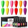 6X Fluorescence Gel Nail Polish Soak Off Manicure UV/LED Nails MEET ACROSS 8ml