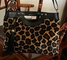 Claudia Leopard Cowhide Fur & Leather Shoulder Bag / X Body - Italy - NWT
