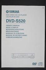YAMAHA DVD-S520 Original DVD/CD-Player Bedienungsanleitung/Owner`s Manual Top