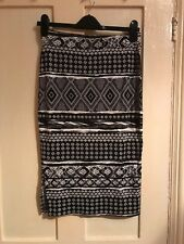 BNWOT George Asda Black And White Aztec Pencil Skirt - Size 12