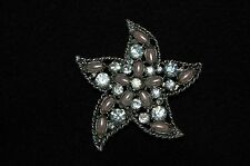 VINTAGE Crystal Rhinestone & Pearl Starfish BROOCH / PIN Antique Silver Setting