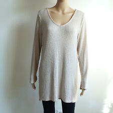 DIVIDED by H&M Women Blouse Shirt Top Women Size Large Long Sleeve Sweater Beige
