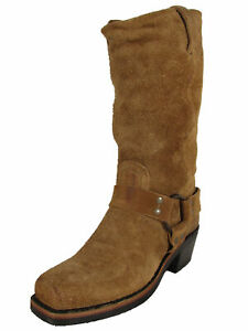 $388 Frye Womens Harness 12R Tall Pull On Square Toe Boots, Tan, US 6