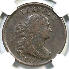 1808 C-3 NGC XF Details Draped Bust Half Cent Coin 1/2c