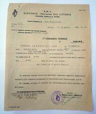 🔵 WW2 DOCUMENTO 1943 FASCISMO MVSN PNF BALESTRERO LUIGI SOMMARIVA DEL BOSCO 🤣
