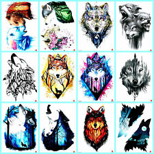 """US Seller-10 sheets wolf animals wild 8.25"""" large arm temporary tattoo Body Art"""