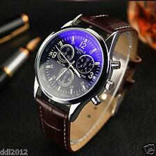 Fashion Men's Leather Band Stainless Steel Sport Military Quartz Wrist Watch Hot